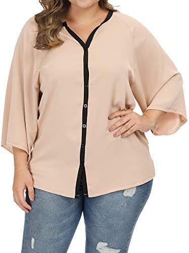 Allegrace Womens Blouses Button Casual