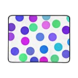 Colorful Dot Speckle and White Background Pattern Portable and Foldable Blanket Mat 60x78 Inch Handy Mat for Camping Picnic Beach Indoor Outdoor Travel