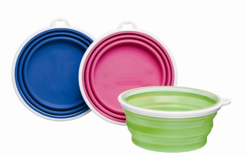 Cheap Bamboo Silicone Pop-Up Travel Bowl, Colors Vary (2 Pack)