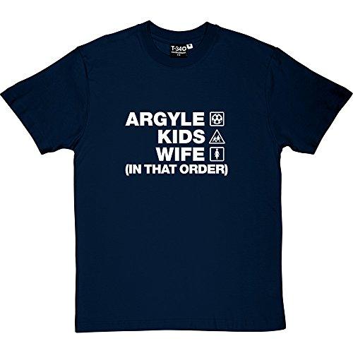 Argyle Print Tee (T34 Argyle Kids Wife (In That Order) Navy Blue Men's T-Shirt Medium (White Print))