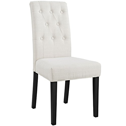 (Modway Confer Button Tufted Upholstered Parsons Dining Side Chair in Beige)
