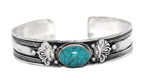 Tibetan Silver Turquoise Bracelet - Cuff Bracelet, Turquoise Bracelet, silver Bracelet, Tibetan Bracelet, Nepal Bracelet, Yoga Bracelet BB165