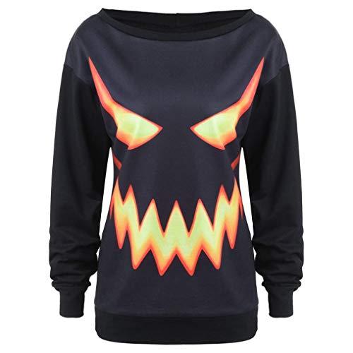 FANOUD Women Black Halloween Black Sweatshirt Jumper Pullover