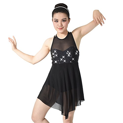 [MiDee Illusion Sweetheart Sequines Tank Top Trianglar Cut Skirt Lyrical Dress Dance Costume (SA,] (Dance Costumes For Adults)