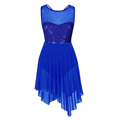 Agoky Women's Illusion Mesh Sequined Lyrical Dance Costume Dresses Modern Contemporary High Low Skirted Leotard Blue Medium]()