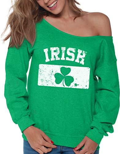 Vizor Clover Leaf Off Shoulder Sweatshirt Shamrock Sweater for St. Patrick's Day (Medium, Irish Flag)