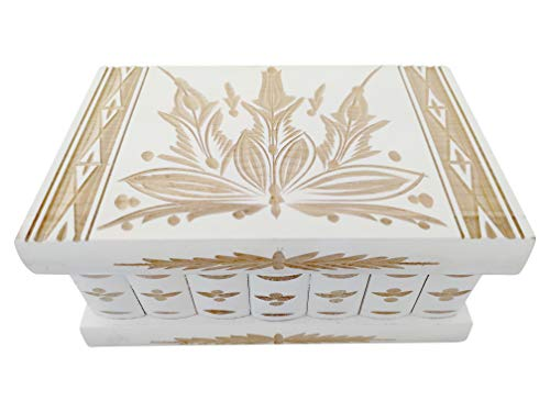 Handmade Wooden Puzzle Jewelry Box from Kalotart. One of a Kind Magic Case with Hidden Key & Removable Compartments. Stunning, Beautiful, Impressive Gift. Like Those Prized by European Royalty White