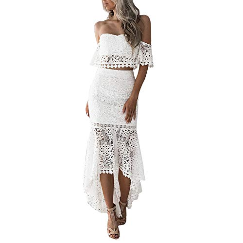 CHoppyWAVE 2Pcs/Set Women Solid Color Lace Short Sleeve Tube Top Irregular Bodycon Skirt White S