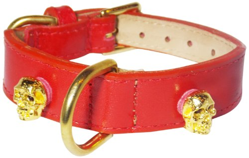 Crystal Skull Rivets Tapered Dog Collar, Extra Large Size 17-22, Red