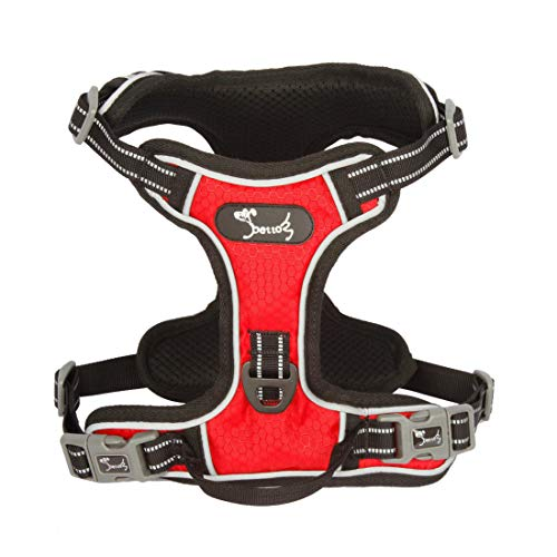Decoroom Dog Harness No Pull, Reflective Vest Harness Adjustable Heavy Duty Pet Chest Harnesses Safety Cats Harness with Easy Control Handle for Small Medium Large Dogs Cats Red-M (Best Behaved Cat Breeds)