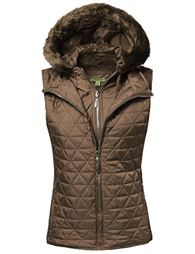 Made by Emma Quilted Vest With Detachable Hood Mocha (Down Vest Fur Hood)