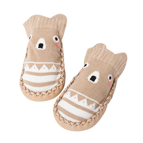 Sunward Cute Baby Boys Girls Toddlers Moccasins Non-Skid Indoor Shoes Socks/Slippers (18-24 Month, Khaki)
