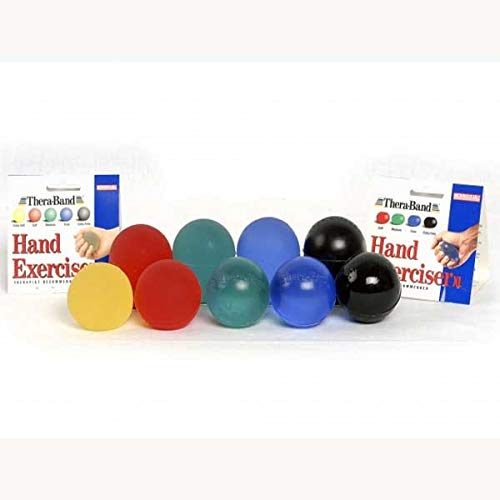 TheraBand Hand Exerciser, Stress Ball for Hand, Wrist, Finger, Forearm, Grip Strengthening & Therapy, Squeeze Ball to Increase Hand Flexibility & Relieve Joint Pain, Black, Extra - Band Trainer Hand Thera