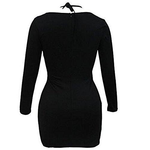 NTNT Schwarz Asymmetrisch Durchführungen Schnüren Lange Ärmel Herbst Cocktail Kleider für Damen