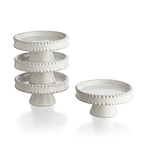 American Atelier Bianca Bead Pedestal Cupcake Plates (Set of 4), White (Stand Dome Cake Ceramic With)