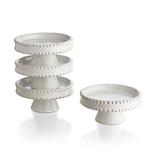 American Atelier Bianca Bead Pedestal Cupcake Plates (Set of 4), White Ceramic Pedestal