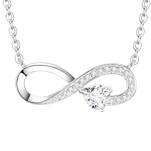 Ladies 18k Gold Diamond Necklace (Dorella Mothers Day Gift Love Infinity Jewelry for Mom Wife Women Diamond Heart Love You forever Birthday Gift Anniversary Gift for Her Lady Sterling Silver Swarovski Pendant, 18