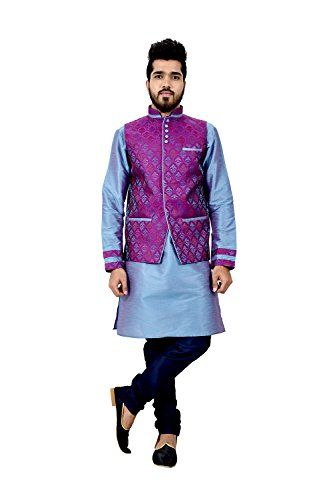 Dessa Collections Indian Traditional Designer Partywear Ethnic Little Boy Blue Mens Kurta Pajama by Dessa Collections
