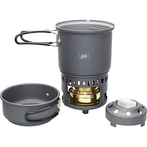 Esbit CS985HA 5-Piece Lightweight Trekking Cook Set with Brass Alcohol Burner Stove and 2 Anodized Aluminum - Shopping Shipping International Online Usa