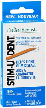 The Natural Dentist Stim-U-Dent Thin Plaque Removers Mint Flavor - 160 Ct., Pack of 4