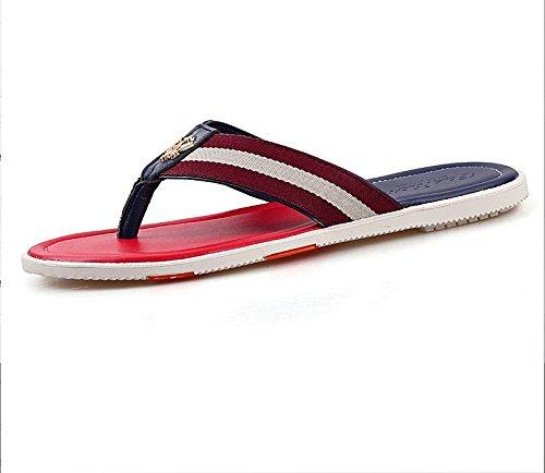 Xing Lin Sandalias De Hombre Zapatos De Hombre Grande Flip-Flops Hombres Zapatillas De Cuero Calzado Casual Sandalias De Playa De Verano Red and blue