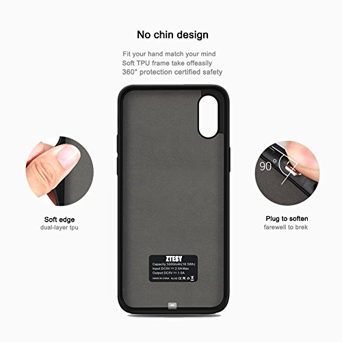 iPhone X Battery Case, ZTESY iPhone X 5000mAh Capacity Extended Charger Case Rechargeable Charging Case with Kickstand for iPhone X -Black by ZTESY (Image #3)