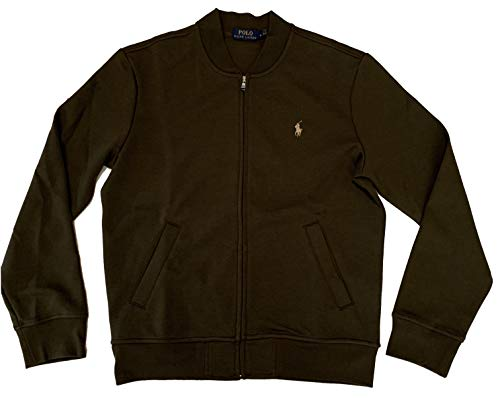 Polo Ralph Lauren Men's Long Sleeve Full Zip Double Knit Track Jacket (Company Olive, Small)