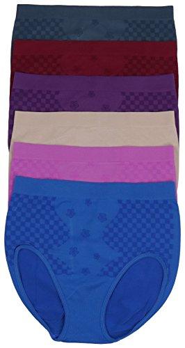 ToBeInStyle Womens Pack of 6 Plus Size Seamless Flower High Waist Briefs (4X, Checkered Garden)