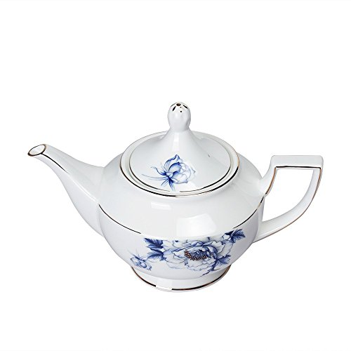 Porlien Elegance Dinnerware Set Collection Blue Floral Porcelain English Style Teapot Trimmed in Gold with Infuser for Loose Tea, 44 Oz, Service for 6, Perfect for Teatime, Tea Party & Home Décor