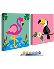 """ColorOki Easy DIY Oil Painting, Paint by Number Kits for Kids, Girls, Seniors, Beginners - 8""""x8"""" (Flamingo & Toucan)"""