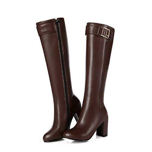 Knee Heels toe High Boots Thick Womens Brown High Round AIWEIYi qYEPwXq