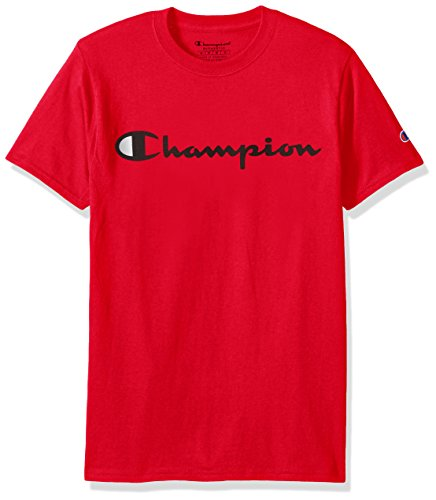 T-shirt Line Inside Short Sleeve (Champion Men's Classic Jersey Script T-Shirt, Athletic Red, L)
