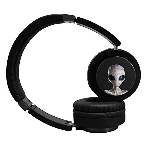 Price comparison product image EARLSS Saucer Man Cool Music Custom Headphones Stereo Wireless Wired Headsets with Microphone For Work Travel Sport Running 3.5mm Cable Included for Wired Use Great for Kids/Teens/Adults