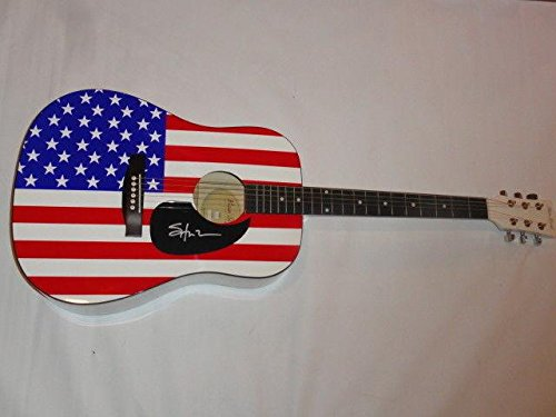 (Shooter Jennings Signed Usa Flag Acoustic Guitar Country Waylon Proof)