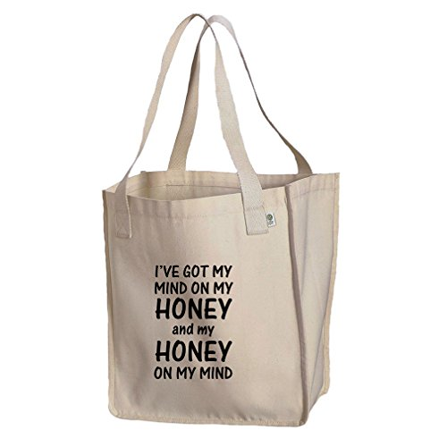 Mind On My Honey & Honey On My Mind Organic Cotton Canvas Market Tote Bag -