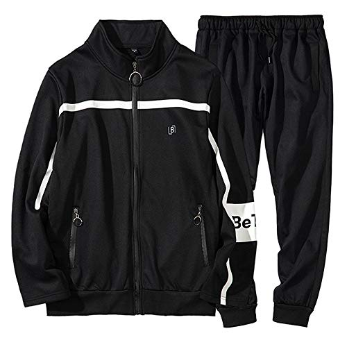 Clearance!! Mens Patchwork Print Sweatshirt Pullover Long Sleeve Tops Blouse Pants Sets Sports Suit Tracksuit