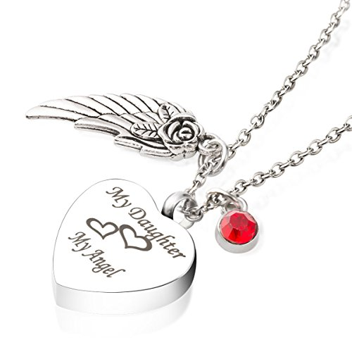 Cremation Jewelry for Ash My Daughter My Angel Urn Necklace Birthstone&Angel Wing Memorial Keepsake Pendant