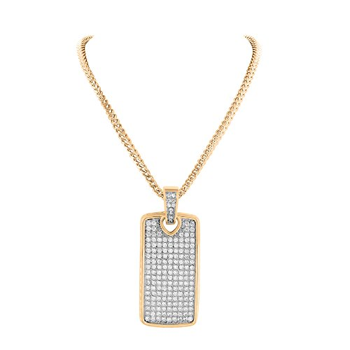 Dog Tag Rose Gold Over Solid Stainless Steel Franco Chain Lab Diamond Micro Pave