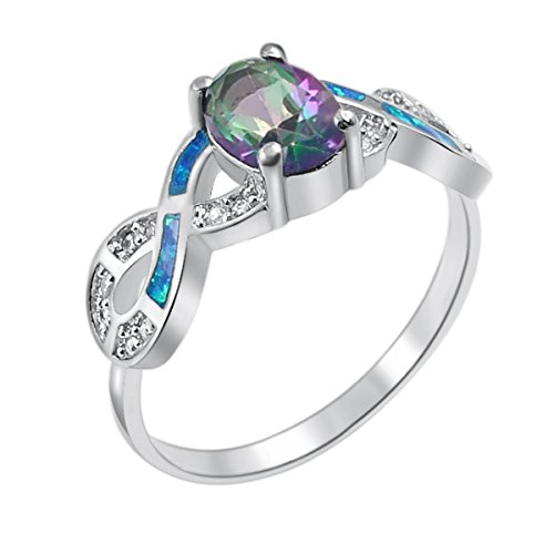 Oval Cut Rainbow Engagement Topaz Ring With Blue Opal Inl...