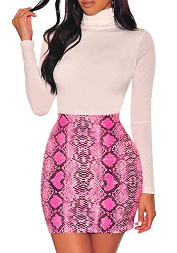 (ECHOINE Womens Sexy Casual Bodycon Snakeskin Mini Midi Skirt Dress Pink)