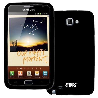 EMPIRE Samsung Galaxy Note I9220 Noir Silicone Skin Case Étui Coque Cover Couverture + Films de protection d'écran + Voiture Chargeur (CLA)