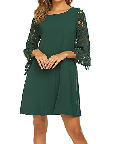 (Chiffon 3/4 Sleeve Lace Shift Loose Mini Tunic Dress Sundress with Pockets Green M)