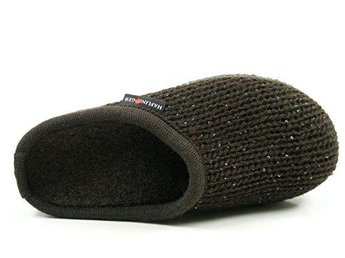 Pantoffeln Braun Uni Haflinger Damen 611087 Hausschuhe Wolle Walktoffel qa7wqHO