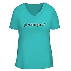 Bh Cool Designs Got Seafood Paella Cute Women S V Neck Graphic Tee Aqua Small