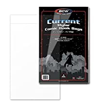 (25) Current Age Comic Book Bags Mylar 4 Mil By BCW. The #1 Bag Sleeve for Archival Quality Protection for Comic Book Storage Supplies. Crystal Clear and Made of MYLAR Archival Polyester. BCW Size, Current Age, Fits Standard Comics Published Since 1990. Trusted By Comic Book Collectors Everywhere. by BCW