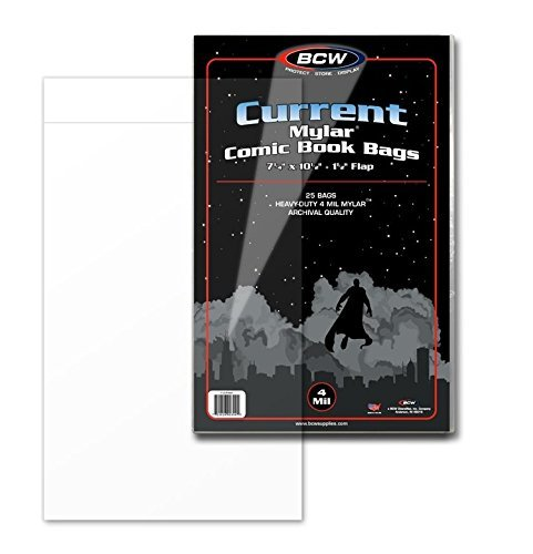 Archival Polyester Sleeve - (25) Current Age Comic Book Bags Mylar 4 Mil By BCW. The #1 Bag Sleeve for Archival Quality Protection for Comic Book Storage Supplies. Crystal Clear and Made of MYLAR Archival Polyester. BCW Size, Current Age, Fits Standard Comics Published Since 1990. Trusted By Comic Book Collectors Everywhere.