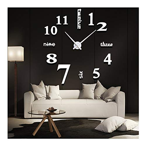 FASHION in THE CITY New 3D DIY Mirror Surface Wall Clocks Modern Design Living Room Decorative Wall Watches … (Gold) (Gold White Clock White)