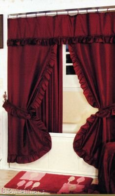 DOUBLE SWAG SHOWER CURTAIN LINER RINGS Burgundy