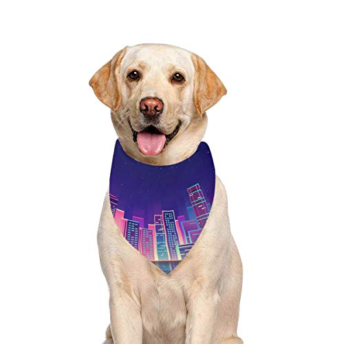 JTMOVING Dog Scarf Night City Neon Glow Printing Dog Bandana Triangle Kerchief Bibs Accessories for Large Boy Girl Dogs Cats Pets Birthday Party Gift]()