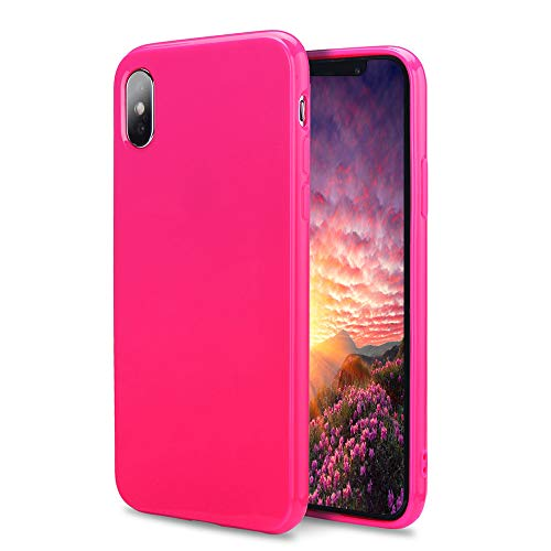 Hot Pink Rubber Case - FGA Compatible iPhone Xs Max Case, Fashion Sugar Candy Cute Slim Thin Lightweight Solid Color Shockproof Protective Soft Flexible TPU Rubber Gel Case for iPhone Xs Max-6.5 inch (2018) (Hot Pink)